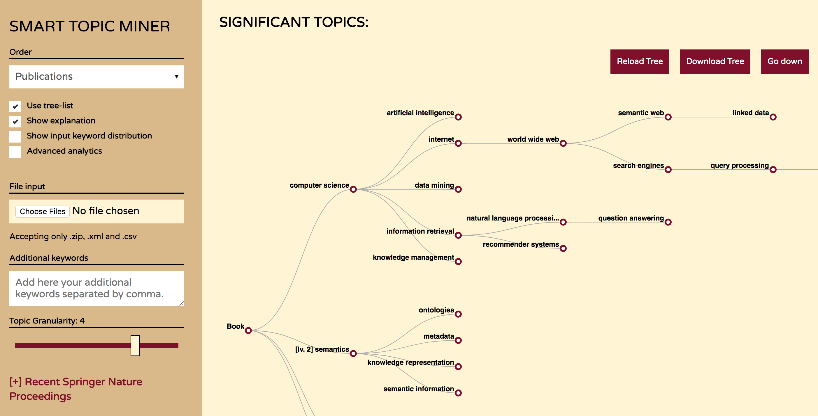 Smart Topic Miner - classifying Springer Nature publications