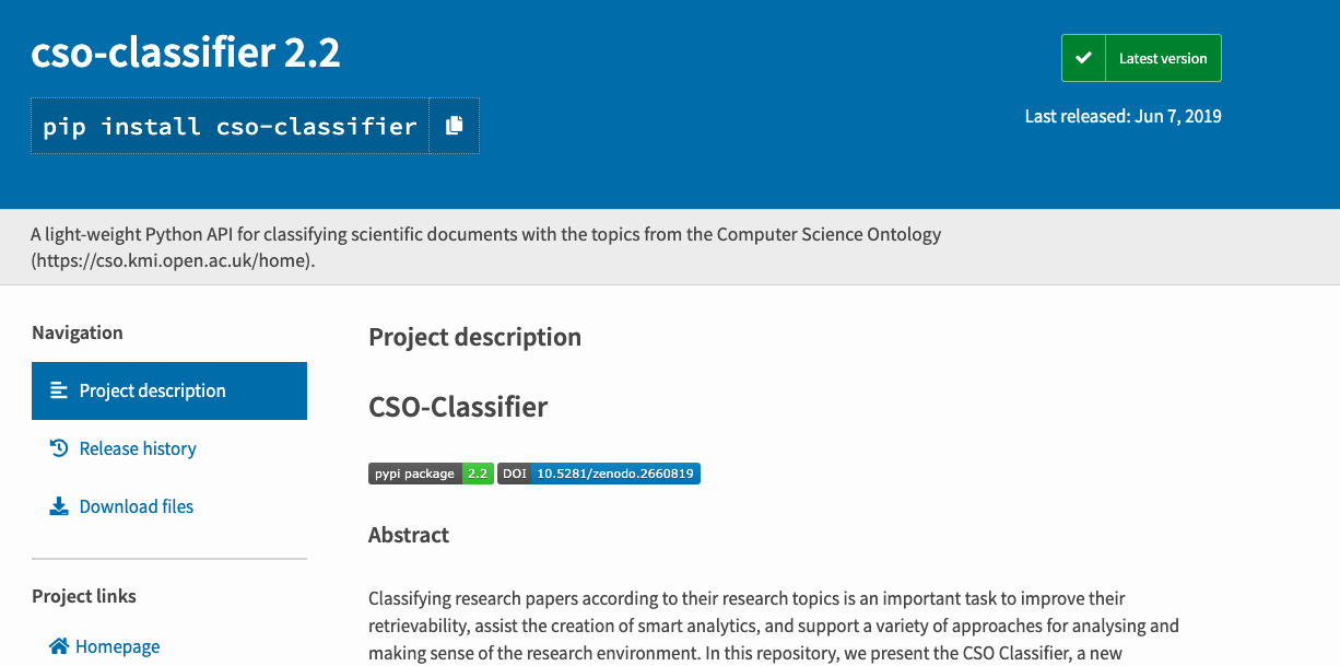 CSO-Classifier available on PIP   SKM3